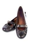 Schwarze Schuhe der Dame lizenzfreie stockbilder
