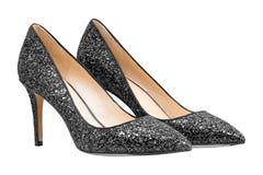 Schwarze Schuhe der Frauen mit Funkeln Lizenzfreie Stockbilder