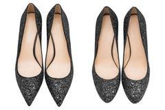 Schwarze Schuhe der Frauen mit Funkeln Stockbild