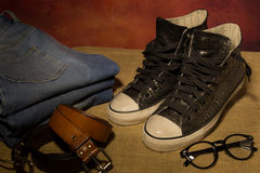 Schwarze Schuhe des Stilllebens, Stiefel Stockfoto