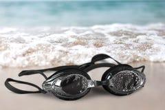Schwarze Schutzbrillenahaufnahme Stockfotos