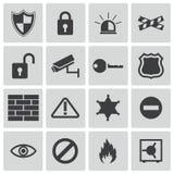 Schwarze Sicherheitsikonen des Vektors Stockbilder
