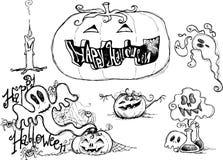 Schwarze skizzierte grafische Elemente Halloweens Stockfoto