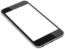Schwarze Smartphones mit dem leeren Bildschirm, lokalisiert auf weißem Hintergrund Stockfoto