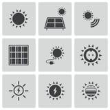 Schwarze Solarenergieikonen des Vektors eingestellt Lizenzfreie Stockfotografie