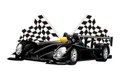 Schwarze Spinnenrennwagen und -flaggen des Vektors Stockfoto