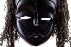 Schwarze Stammes- Gesichtsmaske auf Weiß Lizenzfreie Stockfotografie