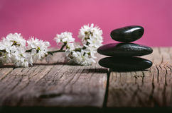 Schwarze Steinbehandlung auf einem Holztisch Badekurort und Wellneßkonzept Lizenzfreie Stockbilder