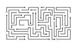 Schwarze Stromkreislinie Mustertechnologiestrom-Vektordesign der Zusammenfassung geometrisches Lizenzfreie Stockfotografie