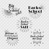 Schwarze Sun-Explosion und Retro- Logo Satz zurück zu der Schule Typographi Stockbilder