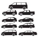 Schwarze Symbole - Karikatur-Autos Lizenzfreie Stockbilder