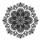 Schwarze Tätowierungsmandala auf weißem Hintergrund in indischer Hennastrauch mehndi Art Lizenzfreie Stockfotografie