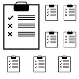 Schwarze Tablette mit Anmerkungen und Kennzeichen lizenzfreie abbildung