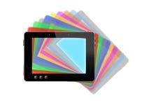 Schwarze Tablette mit bunten mehrfarbigen Schatten Lizenzfreie Stockbilder