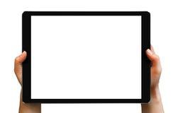 Schwarze Tablette Pro in den Händen der Frau Stockfoto