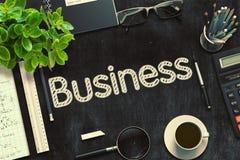 Schwarze Tafel mit Geschäfts-Konzept Wiedergabe 3d Lizenzfreie Stockbilder