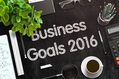 Schwarze Tafel mit Unternehmenszielen 2016 Wiedergabe 3d Lizenzfreie Stockfotografie