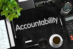 Schwarze Tafel mit Verantwortlichkeits-Konzept Wiedergabe 3d Stockfotografie