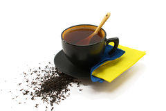 Schwarze Tasse Tee Lizenzfreies Stockbild