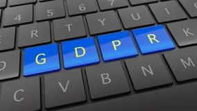 Schwarze Tastatur mit blauen und gelben GDPR-Schlüsseln Lizenzfreies Stockfoto