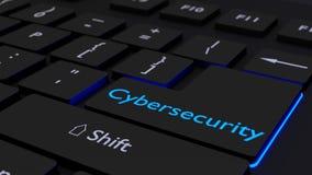 Schwarze Tastatur mit glühendem cybersecurity ENTER-Taste Lizenzfreies Stockfoto