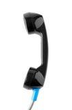 Schwarze Telefon-Griff-Vertikale lokalisiert auf weißem Hintergrund Stockfotos