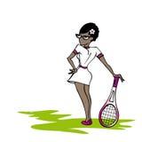 Schwarze Tennisfrau Stockbild