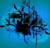 Schwarze Tinte im blauen Hintergrund lizenzfreie abbildung