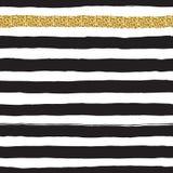 Schwarze Tinte und weiß, nahtloses fettes Streifenmuster des Goldvektors Stockfotos