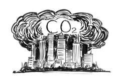 Schwarze Tinten-Schmutz-Handzeichnung der Stadt abgedeckt durch Smog-und CO2 Luftverschmutzung vektor abbildung