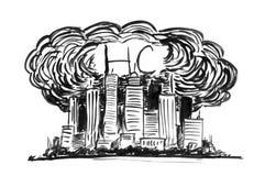 Schwarze Tinten-Schmutz-Handzeichnung der Stadt abgedeckt durch Smog und HC oder Kohlenwasserstoff-Luftverschmutzung vektor abbildung