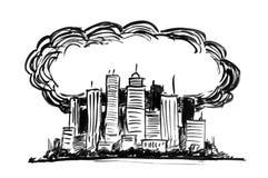 Schwarze Tinten-Schmutz-Handzeichnung der Stadt abgedeckt durch Smog und Luftverschmutzung lizenzfreie abbildung