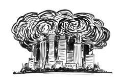 Schwarze Tinten-Schmutz-Handzeichnung der Stadt abgedeckt durch Smog und Luftverschmutzung stock abbildung