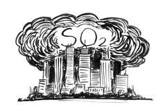 Schwarze Tinten-Schmutz-Handzeichnung der Stadt abgedeckt durch Smog-und SO2 Luftverschmutzung lizenzfreie abbildung