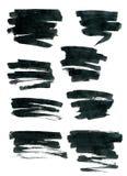 Schwarze Tintenrechteckformen lokalisiert auf Weiß Stockfotografie
