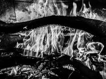 Schwarze u. weiße Flammen lizenzfreie stockfotos