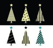 Schwarze u. weiße Weihnachtsbaumauslegung Lizenzfreie Stockfotos