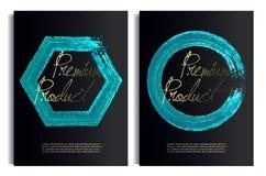 Schwarze und blaue Goldentwurfs-Schablonen für Broschüren, Flieger, bewegliche Technologien, Anwendungen, Fahnen, erstklassiger K lizenzfreie abbildung
