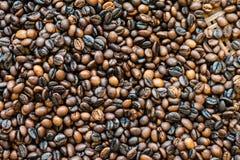 Schwarze und braune Kaffeebohnen, oben geschlossen Stockfoto