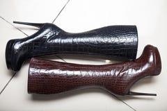 Schwarze und braune noble Schuhe der Zusammensetzung Stockfotografie