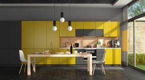Schwarze und gelbe moderne Küche Lizenzfreies Stockfoto