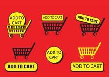 Schwarze und gelbe Warenkorbikonen lizenzfreie abbildung