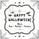 Schwarze und goldene abstrakte nette glückliche Halloween-Emblemgrußkarte lizenzfreie abbildung
