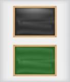 Schwarze und grüne leere Tafeln Stockbilder