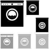 Schwarze und graue Waschmaschine auf dem weißen Hintergrund stock abbildung
