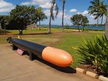 Schwarze und orange Torpedo-Bildschirmanzeige am Pearl Harbor Stockfotografie
