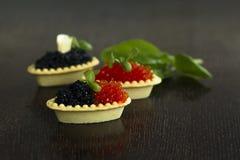 Schwarze und rote Kaviar Tartlets Stockbilder