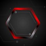 Schwarze und rote Metallhexagon-Technologiezeichnung Lizenzfreie Stockbilder