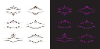 Schwarze und violette kalligraphische Kennsätze Lizenzfreie Stockfotos