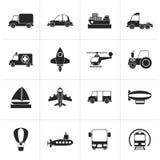 Schwarze unterschiedliche Art von Transportikonen Stockfoto